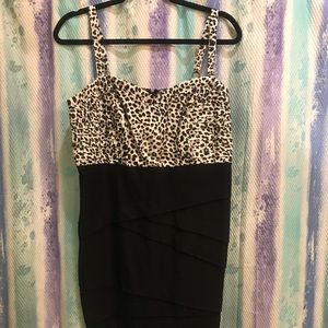 Leopard print black evening/cocktail dress